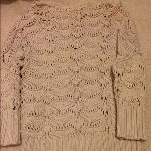 LOFT tan crochet sweater size S